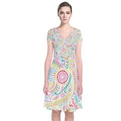Hippie Flowers Pattern, Pink Blue Green, Zz0101 Short Sleeve Front Wrap Dress