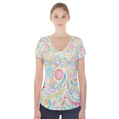 Hippie Flowers Pattern, Pink Blue Green, Zz0101 Short Sleeve Front Detail Top