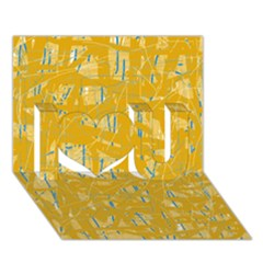 Yellow pattern I Love You 3D Greeting Card (7x5)