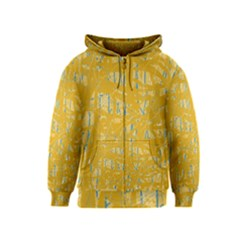 Yellow pattern Kids  Zipper Hoodie