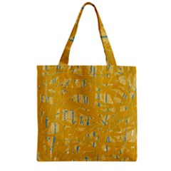 Yellow pattern Zipper Grocery Tote Bag