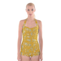 Yellow pattern Boyleg Halter Swimsuit