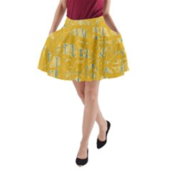 Yellow Pattern A Line Pocket Skirt