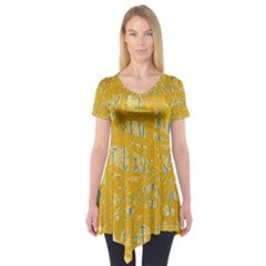 Yellow Pattern Short Sleeve Tunic