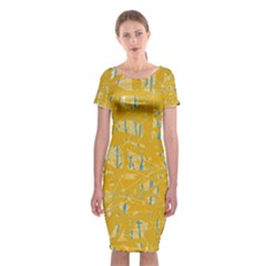 Yellow pattern Classic Short Sleeve Midi Dress
