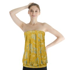 Yellow pattern Strapless Top