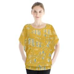 Yellow pattern Batwing Chiffon Blouse
