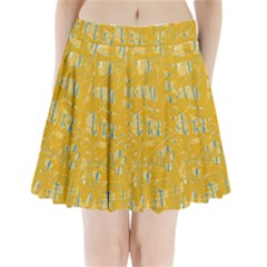 Yellow pattern Pleated Mini Mesh Skirt