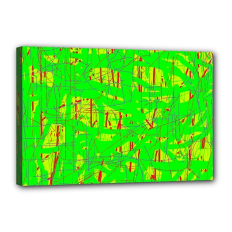 Neon green pattern Canvas 18  x 12