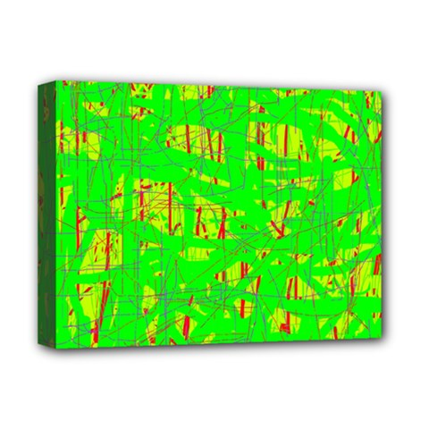 Neon green pattern Deluxe Canvas 16  x 12
