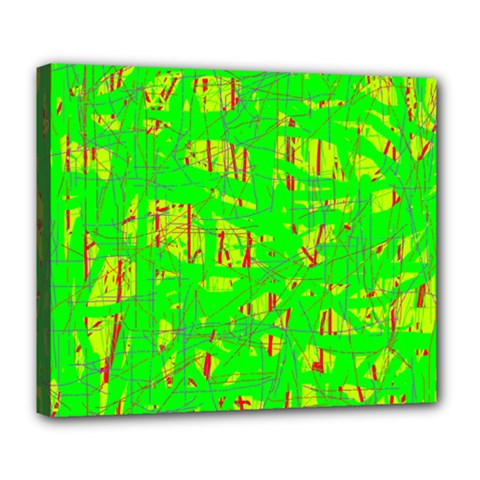 Neon green pattern Deluxe Canvas 24  x 20