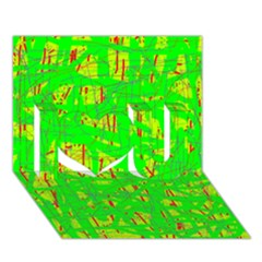 Neon green pattern I Love You 3D Greeting Card (7x5)