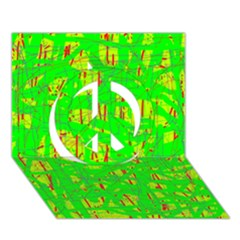 Neon Green Pattern Peace Sign 3d Greeting Card (7x5)