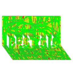 Neon green pattern BEST SIS 3D Greeting Card (8x4)