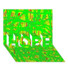Neon green pattern HOPE 3D Greeting Card (7x5)
