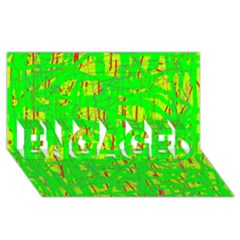 Neon green pattern ENGAGED 3D Greeting Card (8x4)