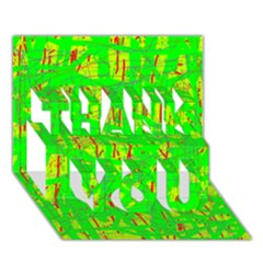 Neon green pattern THANK YOU 3D Greeting Card (7x5)