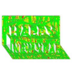 Neon green pattern Happy New Year 3D Greeting Card (8x4)