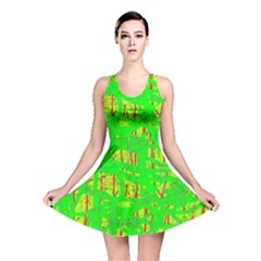 Neon green pattern Reversible Skater Dress