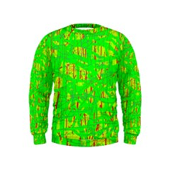 Neon green pattern Kids  Sweatshirt