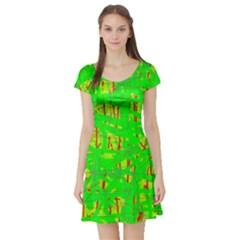 Neon green pattern Short Sleeve Skater Dress