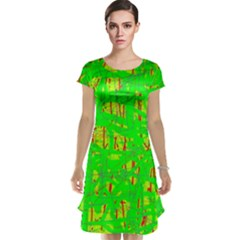Neon green pattern Cap Sleeve Nightdress