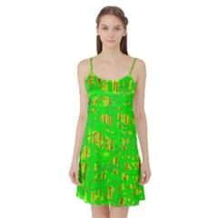 Neon green pattern Satin Night Slip