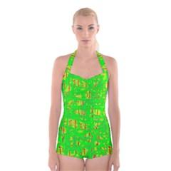 Neon Green Pattern Boyleg Halter Swimsuit