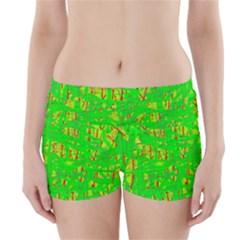 Neon green pattern Boyleg Bikini Wrap Bottoms