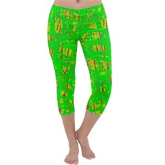 Neon green pattern Capri Yoga Leggings