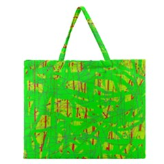 Neon green pattern Zipper Large Tote Bag