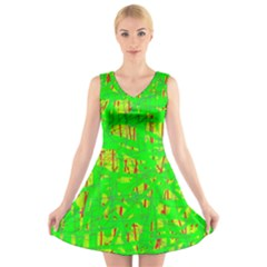 Neon Green Pattern V Neck Sleeveless Skater Dress