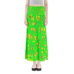 Neon green pattern Maxi Skirts