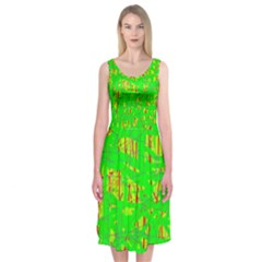 Neon green pattern Midi Sleeveless Dress