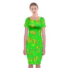 Neon green pattern Classic Short Sleeve Midi Dress