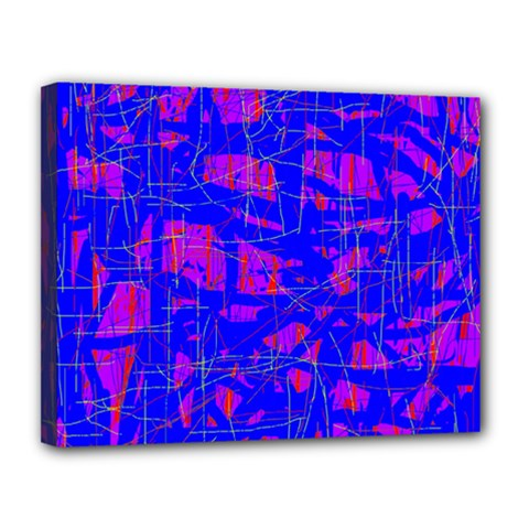 Blue pattern Canvas 14  x 11