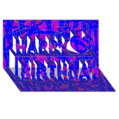Blue pattern Happy Birthday 3D Greeting Card (8x4)
