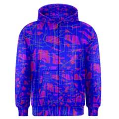 Blue pattern Men s Zipper Hoodie