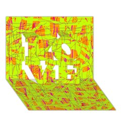 yellow and orange pattern LOVE 3D Greeting Card (7x5)