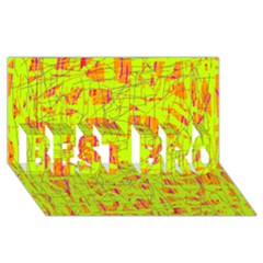 yellow and orange pattern BEST BRO 3D Greeting Card (8x4)