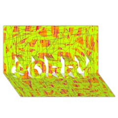 yellow and orange pattern SORRY 3D Greeting Card (8x4)