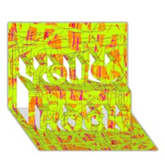 yellow and orange pattern You Rock 3D Greeting Card (7x5)