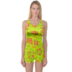 yellow and orange pattern One Piece Boyleg Swimsuit