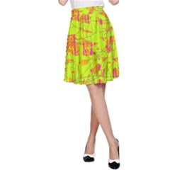 yellow and orange pattern A-Line Skirt