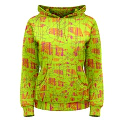 yellow and orange pattern Women s Pullover Hoodie