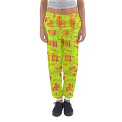 yellow and orange pattern Women s Jogger Sweatpants
