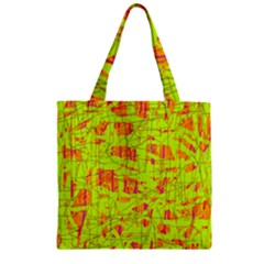 yellow and orange pattern Zipper Grocery Tote Bag