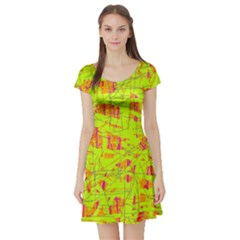 yellow and orange pattern Short Sleeve Skater Dress