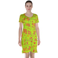 yellow and orange pattern Short Sleeve Nightdress