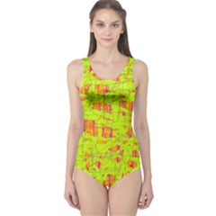 yellow and orange pattern One Piece Swimsuit